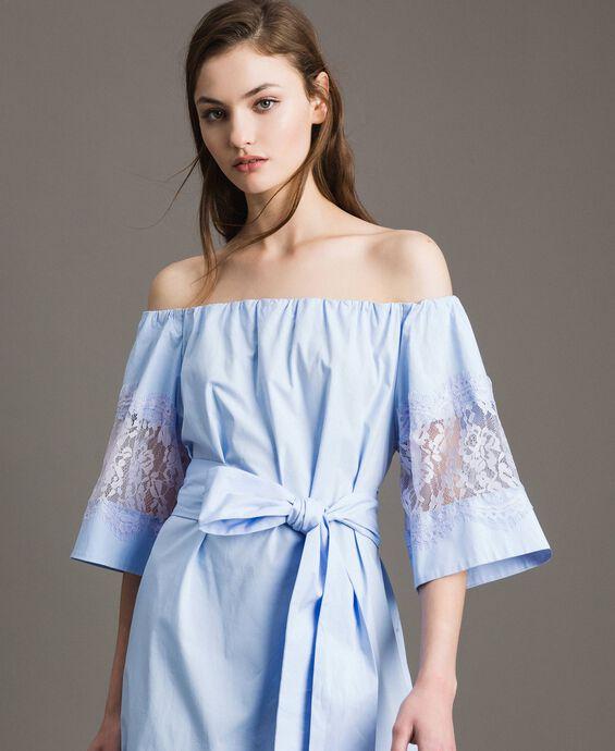 Poplin long dress wih lace