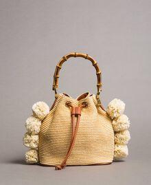 """Straw bucket bag with pompom """"Marzipan"""" Beige Woman 191TO8273-02"""