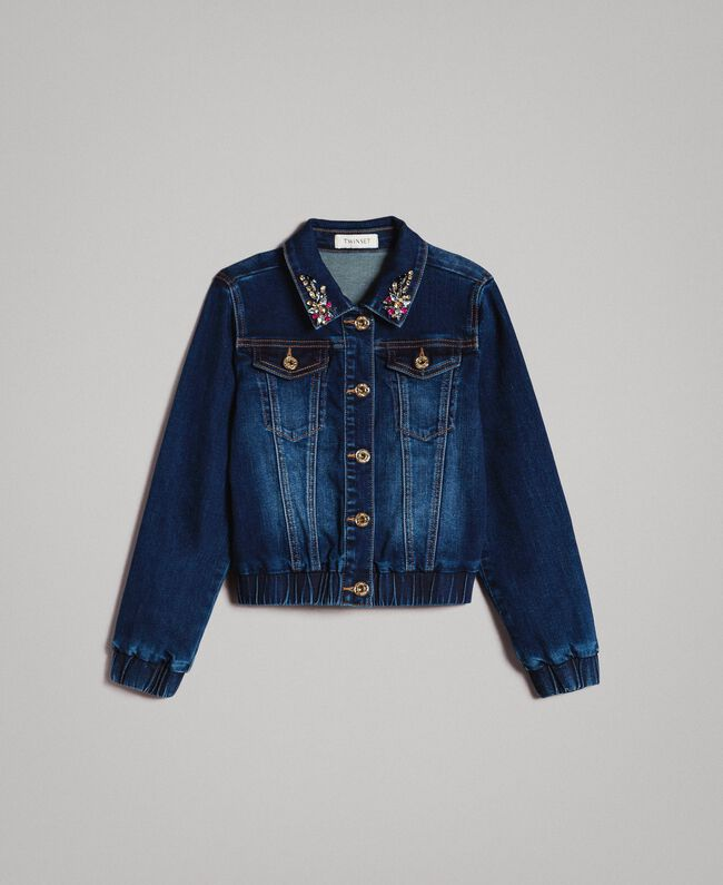 Denim jacket with stones Dark Denim Child 191GJ2632-01