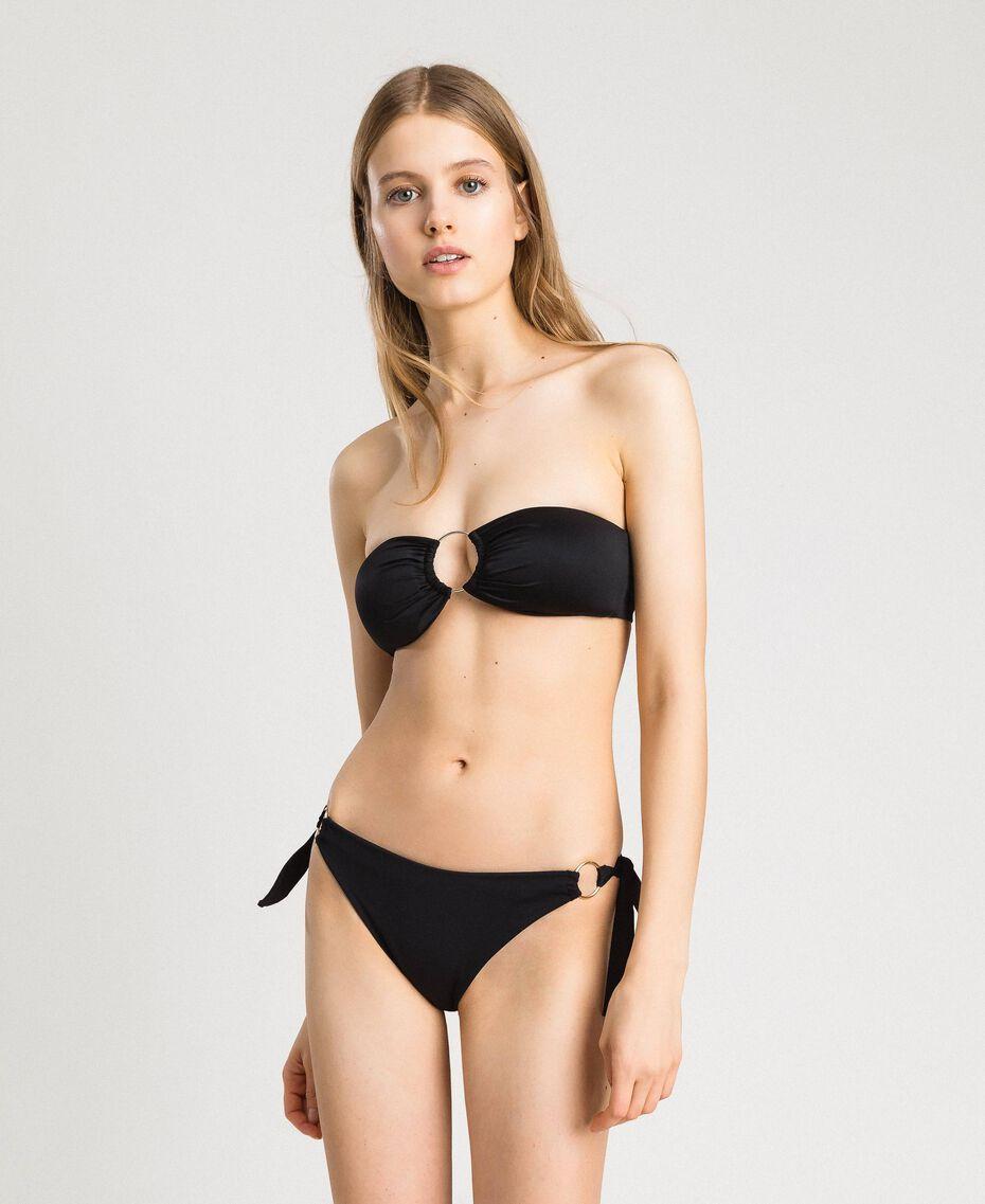 Bandeau bikini top with loop Black Woman 191LBM211-0S