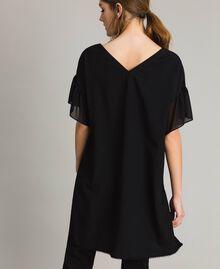Robe tunique en crêpe de Chine et dentelle Noir Femme 191ST2063-03