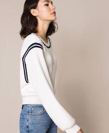 "Boxy jumper with crochet embroidery Two-tone Vanilla / ""Indigo"" Blue Woman 201MP3040-02"