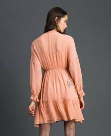 Robe en crêpe georgette avec broderies florales Rose Mousse Femme 192TP2160-03