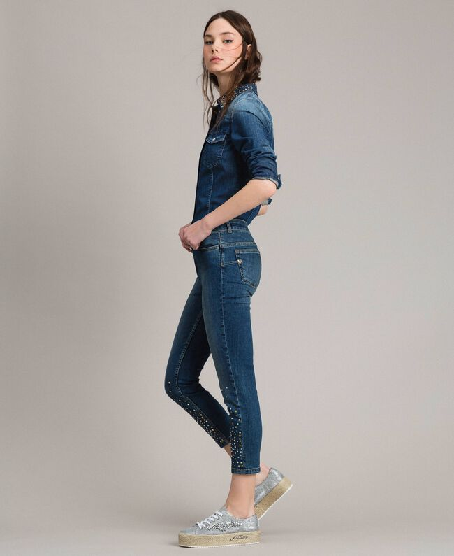 Skinny jeans with fadeout rhinestones Denim Blue Woman 191MP2421-03