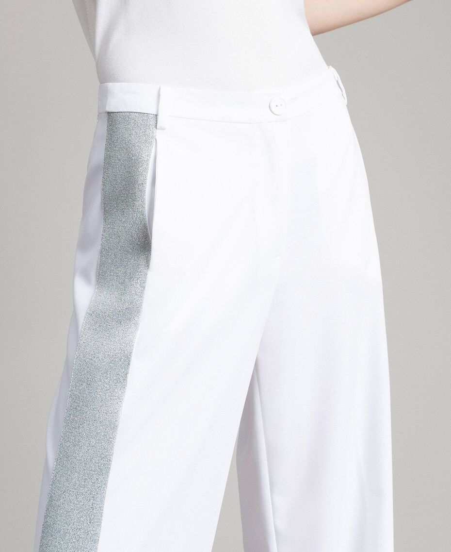 Pantaloni palazzo con bande lurex Bianco Donna 191LL25BB-02