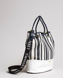 Plaited faux leather bucket bag Indigo Woman 191TO8131-01