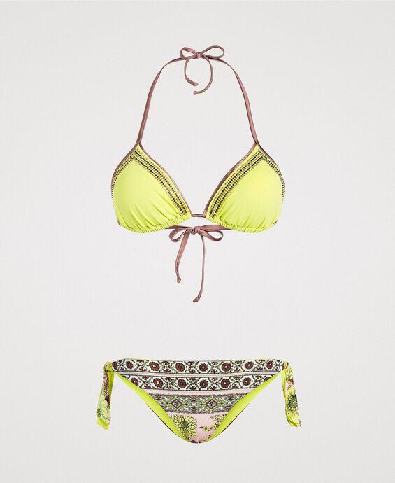Bikini mit Strass und Foulard-Print