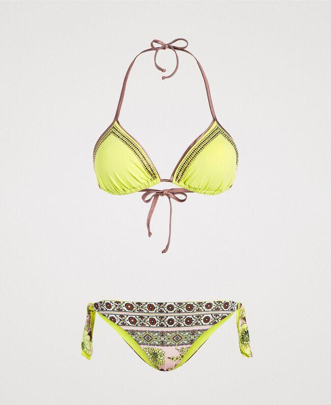 "Bikini mit Strass und Foulard-Print Motiv ""Lemon Juice"" Gelb Schal Frau 191LBMHWW-01"