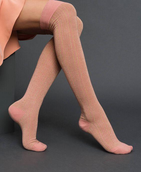 Chaussettes hautes côtelées lurex