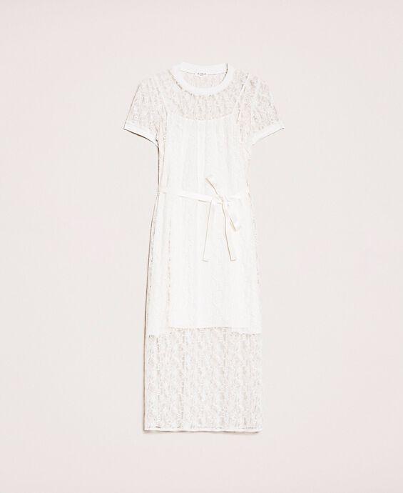 Long lace dress with belt