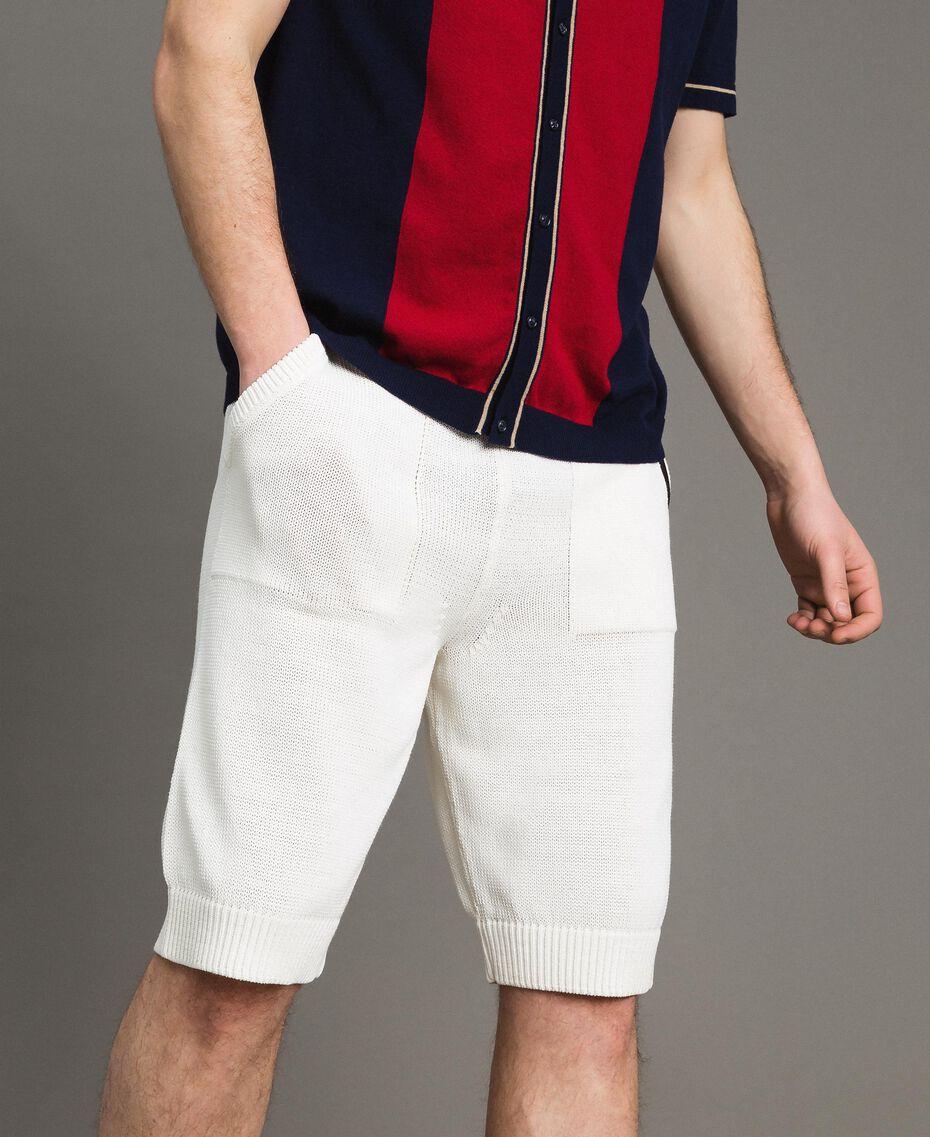 Cotton-blend Bermuda shorts Matte White Man 191UT3084-01