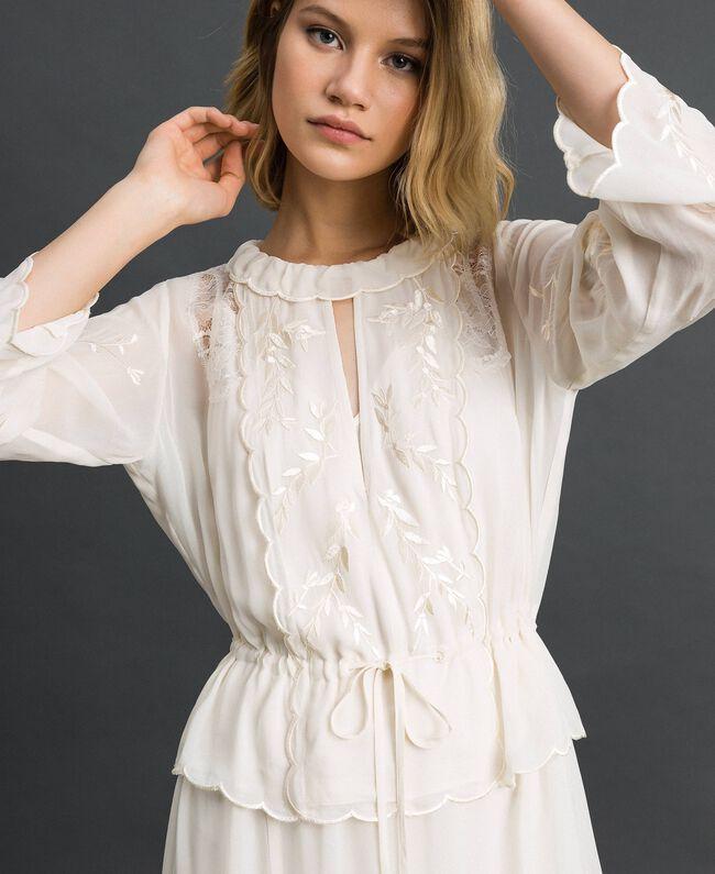 Robe longue en crêpe georgette avec broderies Blanc Neige Femme 192TP2340-01