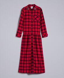 Robe longue en flanelle à carreaux Bicolore Plaid Flanelle Rouge Coquelicot/ Noir Femme YA82EB-0S