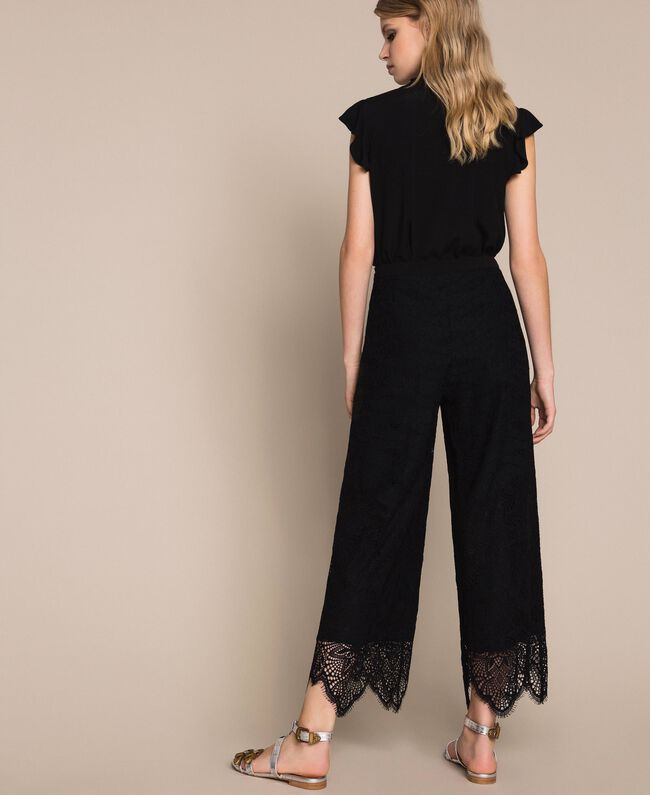 Macramé lace trousers Black Woman 201TP2033-03