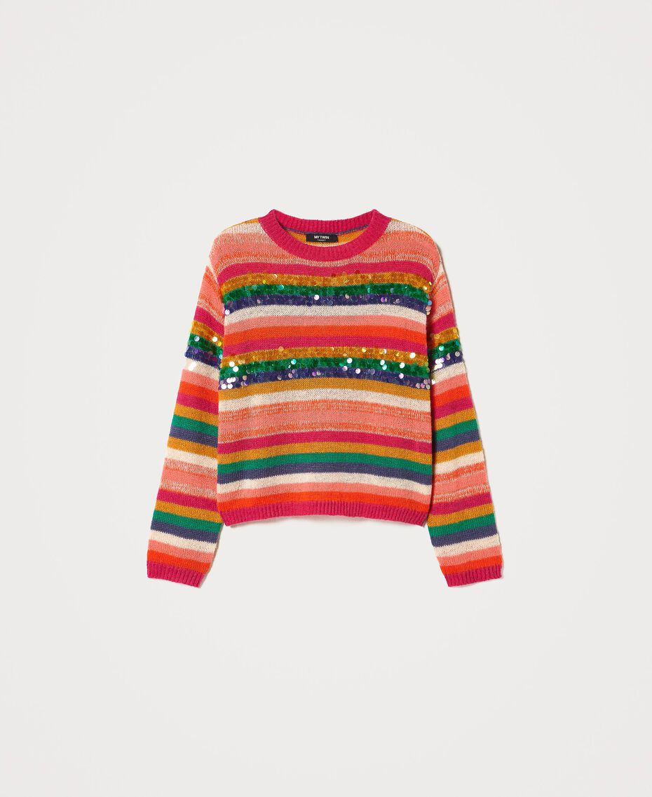 "Wool blend jumper with sequins Multistripe / ""Colour Sequins"" Woman 202MP3190-0S"