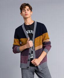 Cardigan en laine mélangée color block Multicolore Mouliné Homme Homme UA83GB-01