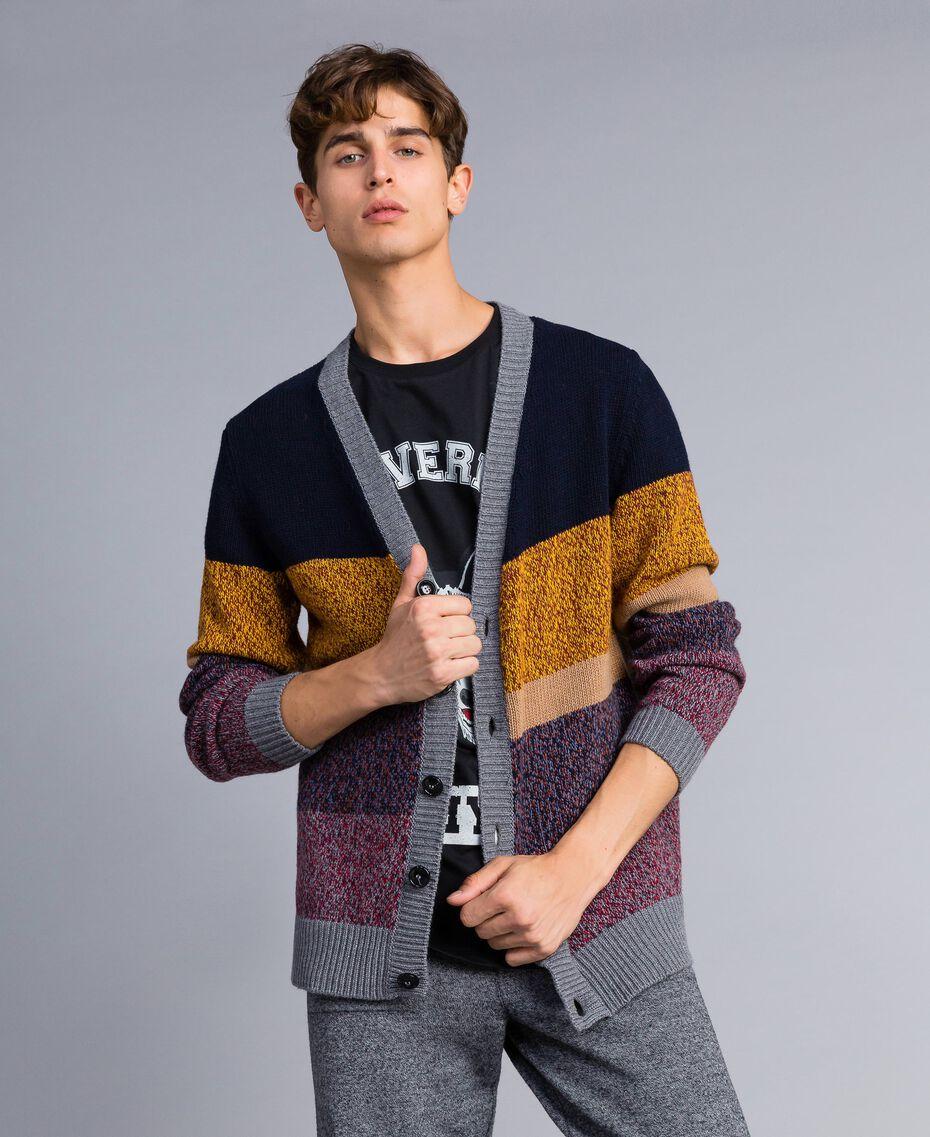 Colour block wool blend cardigan Multicolour Mouliné Man Man UA83GB-01