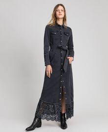 Black denim shirt dress with lace flounce Black Denim Woman 192MP2330-01