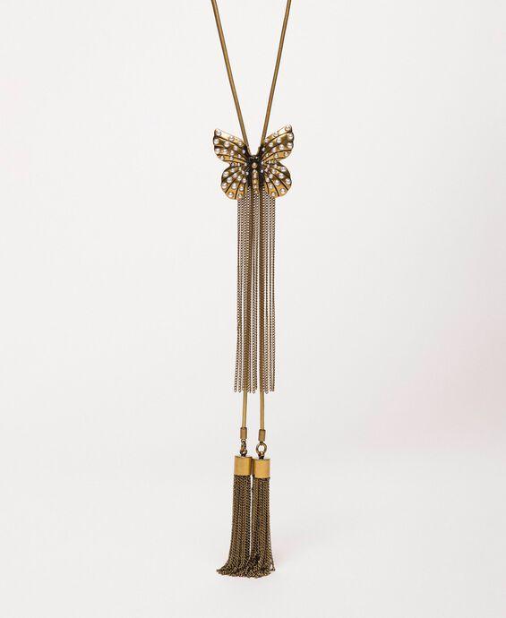 Collier réglable avec papillon et pompons