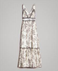 Robe longue en soie mélangée avec imprimé floral Imprimé Toile De Jouy Noir Femme 191TT2402-0S
