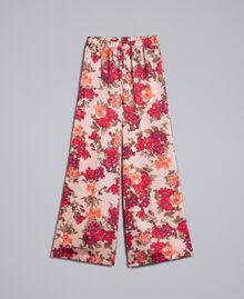 Pantalon palazzo avec imprimé floral Imprimé Floral Rose Nude Femme SA82E3-0S