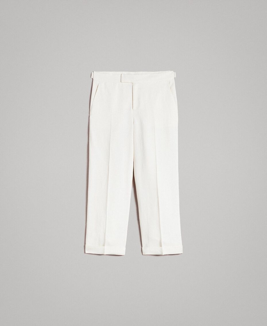 Linen blend cropped trousers White Snow Woman 191TP2202-0S