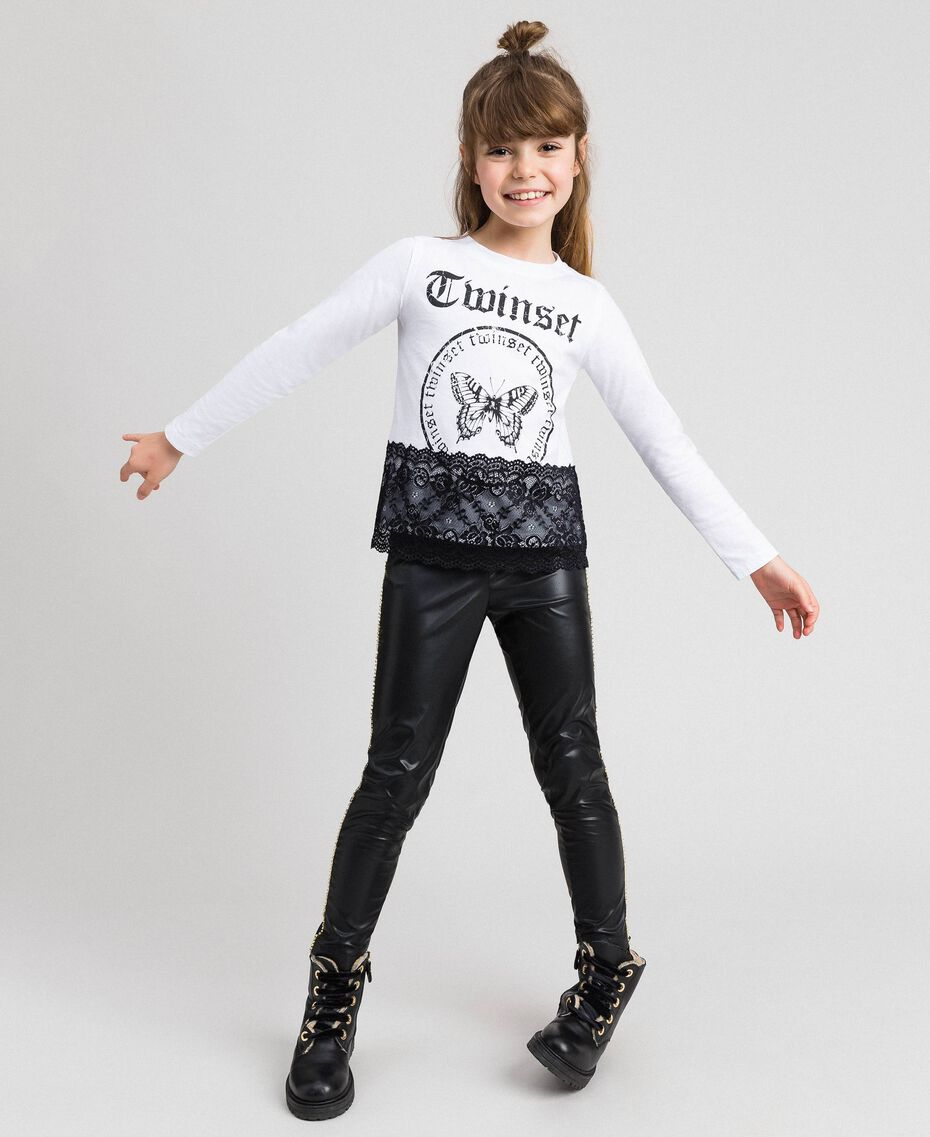 Printed T-shirt with lace Optical White / Black Child 192GJ2393-02