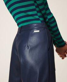 Pantalon cropped en similicuir Bleu Blackout Femme 202LI2GAA-06