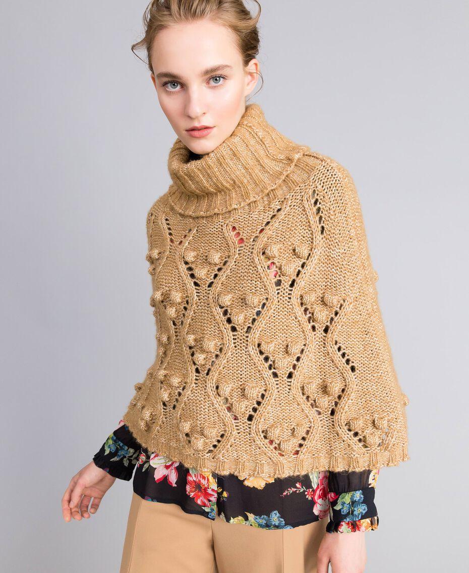 Cappa in maglia mélange Camel Donna PA83LA-01