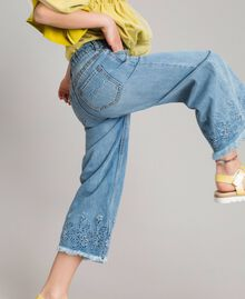 Wide leg jeans with broderie anglaise embroidery Light Denim Child 191GJ2250-0S