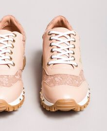 Sneakers aus Spitze und Wildleder Perlrosa Frau 191TCP026-03