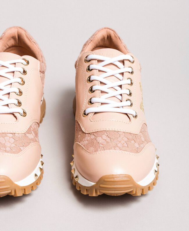 sports shoes be175 34012 Sneakers in pizzo e camoscio Donna, Rosa   TWINSET Milano