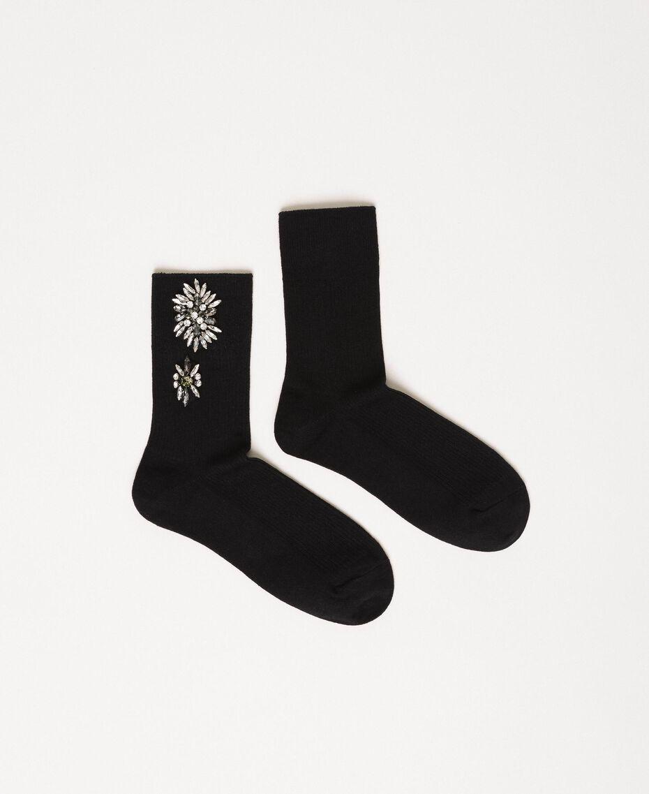 Socquettes ornées de fleurs brodées Noir Femme 201TA4416-01