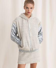 Laminated bomber jacket with bouclé fabric Multicolour Ivory / Silver Grey Woman 201TP2220-03