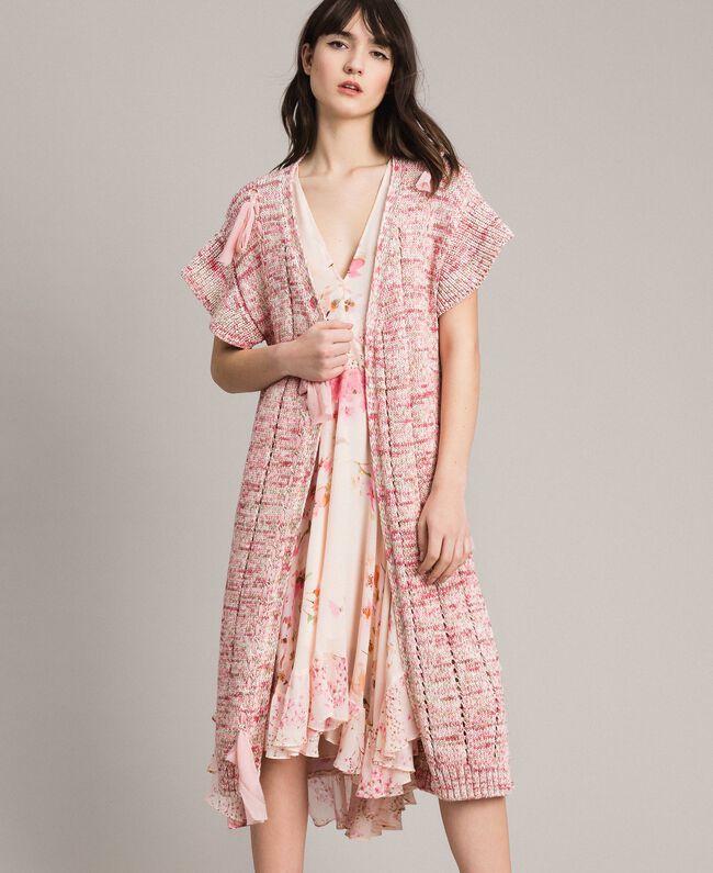 Lange Weste mit Bändern Multicolour Pinkes Muster Frau 191TP3282-04