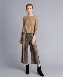Pullover aus Lurexgarn mit Plissee Lurex Kamelbraun Frau PA83CC-0T