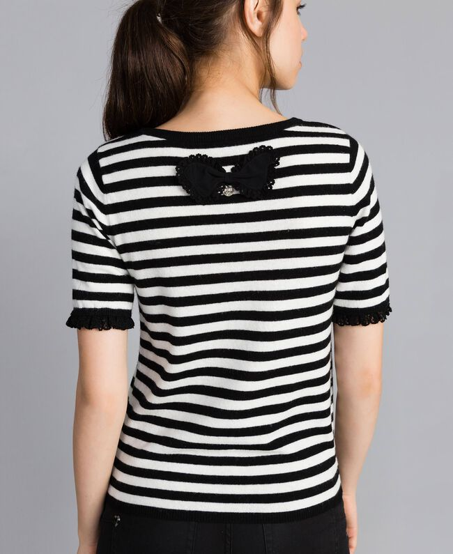 Striped cashmere blend top Black / Mother-of-pearl White Stripe Woman SA83FQ-03