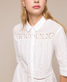 Broderie anglaise shirt dress with lace White Woman 201LM2LCC-04