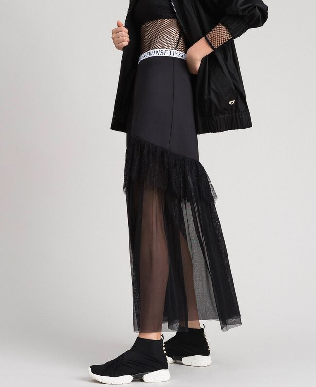 check-out 14621 bba5d Gonna lunga in tulle e scuba Donna, Nero | TWINSET Milano