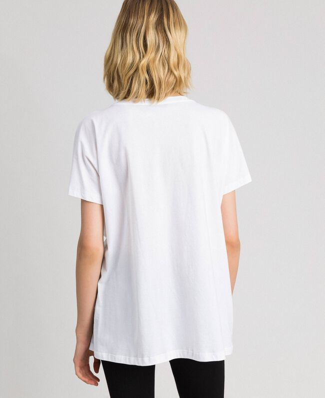 T-shirt with logo and floral thread embroidery White Woman 192TP2580-04