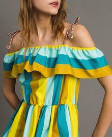 Mehrfarbig gestreiftes Popeline-Kleid Multicolour Motiv Keramikblau Frau 191TT2412-04