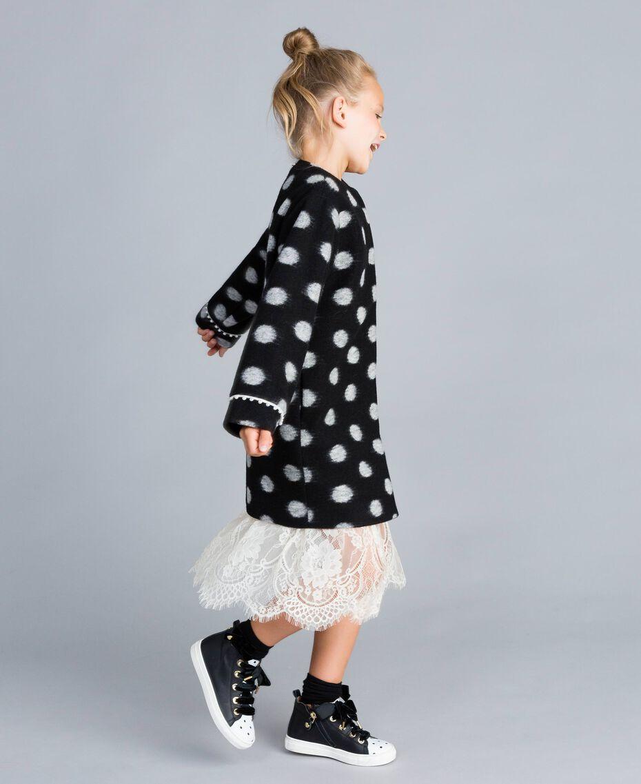 Manteau en drap à pois Imprimé Pois Noir / Blanc Cassé Enfant GA82CG-02