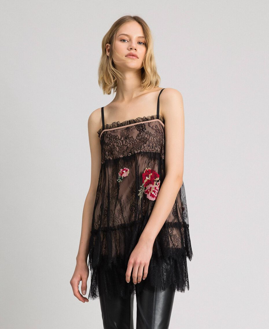 Valenciennes lace top with floral thread embroidery Black Woman 192TP2588-02
