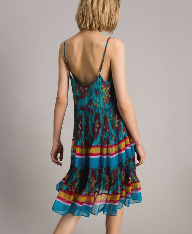 Robe en chiffon à imprimé motif floral Multicolore Chiné / Rayures Bleu Céramique Femme 191TT2364-04