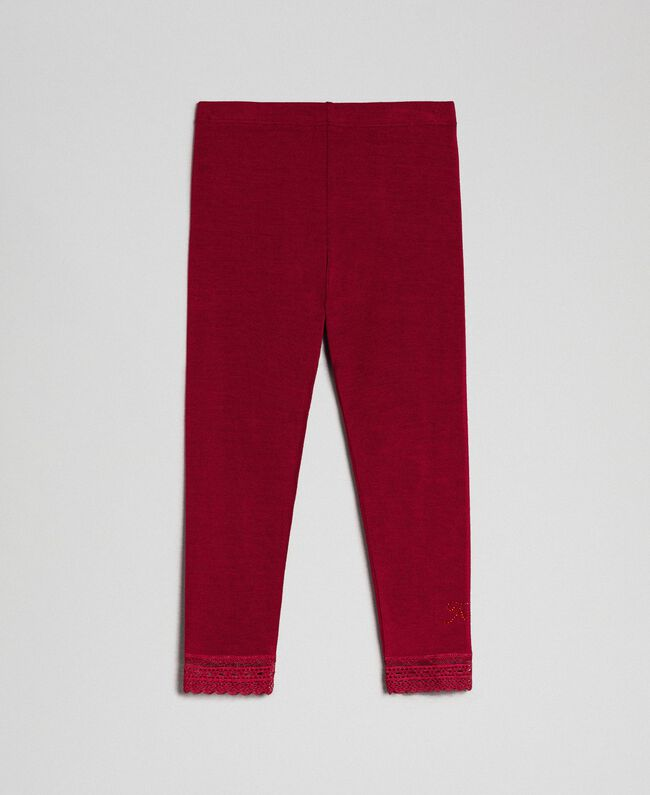 Leggings with lace and rhinestone logo Ruby Wine Red Child FCN2D3-01