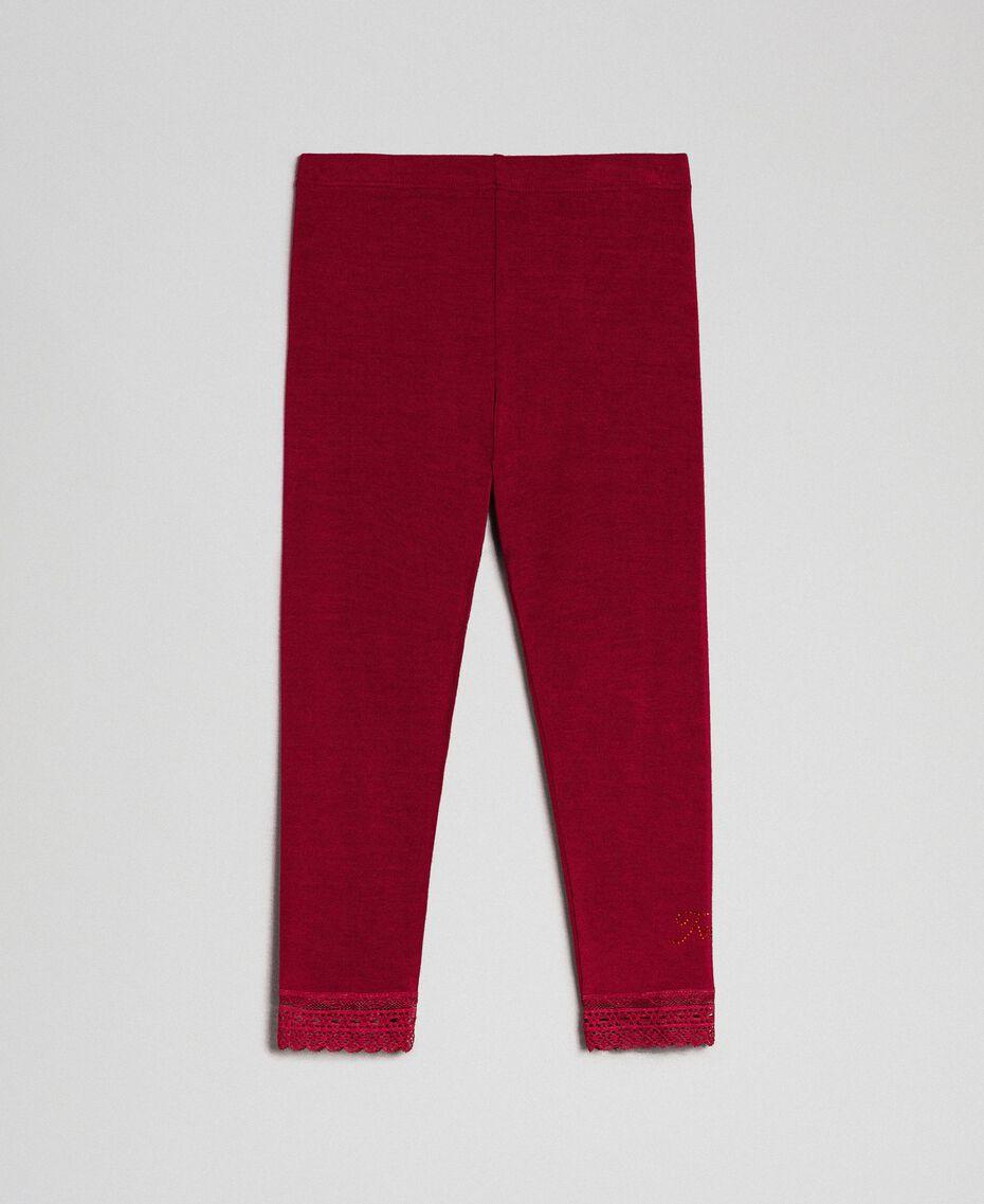 Leggings con pizzo e logo strass Rosso Ruby Wine Bambina FCN2D3-01