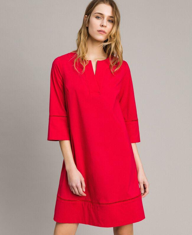 """Popeline-Kleid mit Stickerei """"Lipstick Red"""" Rot Frau 191TT2242-01"""