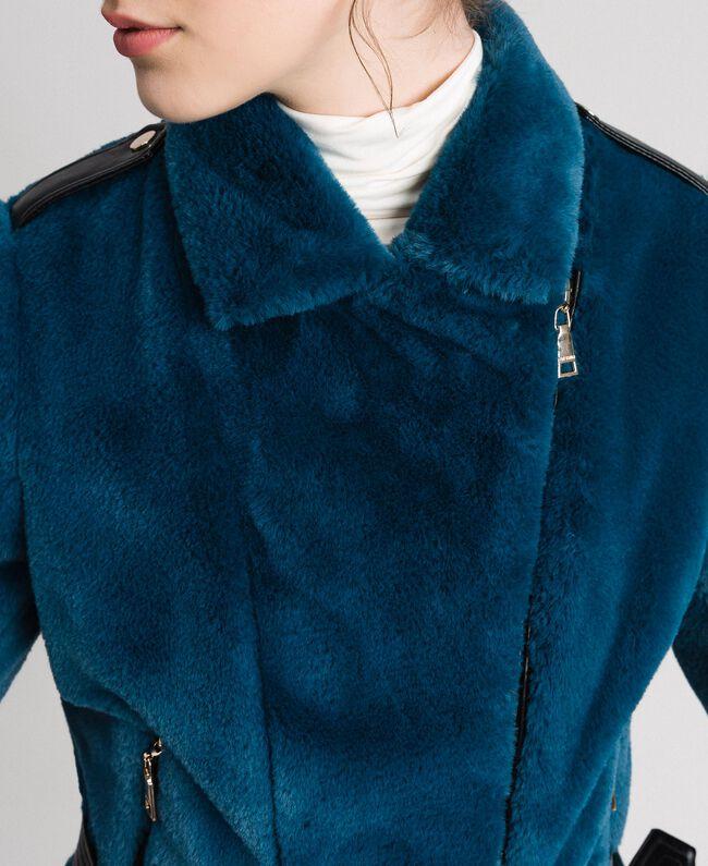 "Giacca chiodo in similpelliccia Blu ""Lake"" Donna 192MP2043-04"
