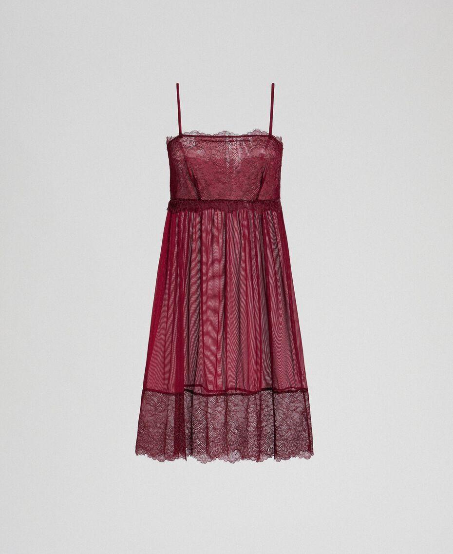 Unterkleid aus Tüll und Spitze Purpurrot / Bleigrau Frau 192LI24YY-0S