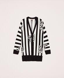 Maxi cardigan imprimé avec fentes Imprimé Fleur sur Rayé Neige / Noir Femme 201TP3261-0S